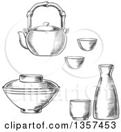 Clipart Of Black And White Sketched Japanese Tableware With Sake Ceramic Set Dobin Mushi Teapot With Bamboo Handle And Donburi Rice Or Soup Bowl Royalty Free Vector Illustration