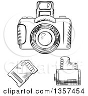 Clipart Of Black And White Sketched Photography Items Royalty Free Vector Illustration