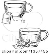 Poster, Art Print Of Black And White Sketched Cups Of Hot Tea With A Bag And Cowberry Branch