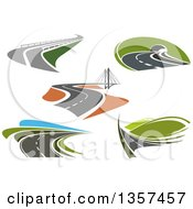 Clipart Of Landscapes With Roads Royalty Free Vector Illustration