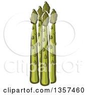 Clipart Of Cartoon Asparagus Stalks Royalty Free Vector Illustration