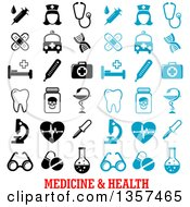 Clipart Of Blue And Black Medicine And Health Icons Royalty Free Vector Illustration