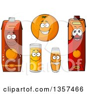 Clipart Of A Happy Cartoon Orange And Juice Characters Royalty Free Vector Illustration by Vector Tradition SM