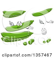 Clipart Of A Cartoon Face Hands Pods And Peas Royalty Free Vector Illustration