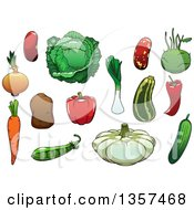 Clipart Of Cartoon Vegetables Royalty Free Vector Illustration by Vector Tradition SM