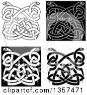 Black And White Celtic Knot Snake Designs