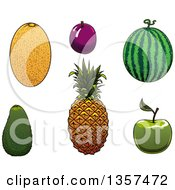 Clipart Of Cartoon Fruits Royalty Free Vector Illustration by Vector Tradition SM
