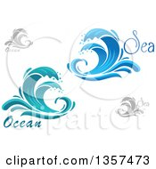 Clipart Of Splashing Waves And Text Royalty Free Vector Illustration