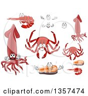 Clipart Of Cartoon Seafoods Royalty Free Vector Illustration
