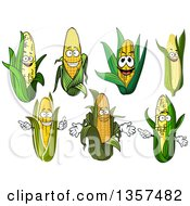 Clipart Of Corn Characters Royalty Free Vector Illustration