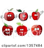 Clipart Of Red Apple Characters Royalty Free Vector Illustration