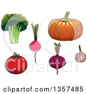 Clipart Of Cartoon Vegetables Royalty Free Vector Illustration