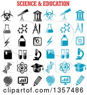 Clipart Of Blue And Black Science And Education Icons Royalty Free Vector Illustration by Vector Tradition SM