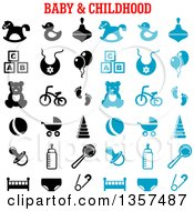 Clipart Of Blue And Black Baby And Childhood Items Royalty Free Vector Illustration