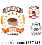 Clipart Of Sliced Rye Bread Star And Wheat Bakery Text Designs With Text Royalty Free Vector Illustration