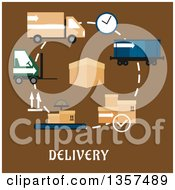 Clipart Of A Flat Design Box With Delivery Shipping And Logistics Items Over Text On Brown Royalty Free Vector Illustration by Vector Tradition SM