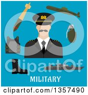 Clipart Of A Flat Design Man In Uniform Encircled By Body Armor Army Boots Hand Grenade Submarine Combat Ship And Torpedo Over Text On Blue Royalty Free Vector Illustration