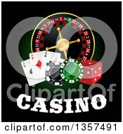 Clipart Of A Casino Roulette Wheel With Poker Chips Dice Playing Cards And Text On Black Royalty Free Vector Illustration by Vector Tradition SM