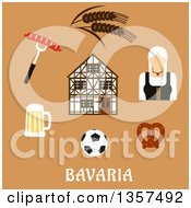 Clipart Of A Flat Design Woman And Bavaria Travel Icons Over Text On Tan Royalty Free Vector Illustration