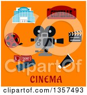Clipart Of A Flat Design Movie Camera And Production Items Over Text On Orange Royalty Free Vector Illustration