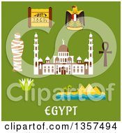 Flat Design Egypt Travel Icons Over Text On Green