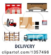 Clipart Of A Flat Design Warehouse Building Freight Wagon Cargo Truck Forklift Truck Storage Rack Calendar And Hands With Parcel Cardboard Box Royalty Free Vector Illustration