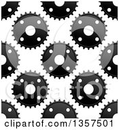 Clipart Of A Seamless Background Pattern Of Grayscale Gear Cogs Royalty Free Vector Illustration
