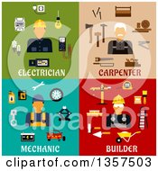 Poster, Art Print Of Flat Style Electrician Carpenter Mechanic And Builder Designs