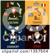 Flat Design Culture Travel Cookery And Italy Designs