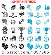 Clipart Of Blue And Black Sports And Fitness Icons Royalty Free Vector Illustration