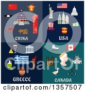 Poster, Art Print Of Flat Style China Usa Greece And Canada Designs
