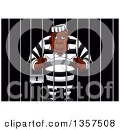 Clipart Of A Tired Old Prisoner Hugging The Bars Of His Jail Cell Royalty Free Vector Illustration