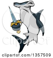 Clipart Of A Cartoon Angry Hammerhead Shark Holding A Sword Royalty Free Vector Illustration