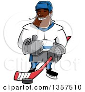Cartoon Black Male Ice Hockey Player Giving A Thumb Up