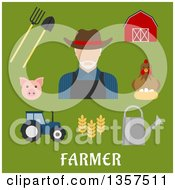 Clipart Of Flat Design White Male Farmer With Equipment And Livestock Over Text On Green Royalty Free Vector Illustration