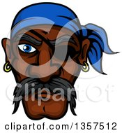 Clipart Of A Cartoon Tough Black Male Pirate Wearing An Eye Patch And A Blue Bandana Royalty Free Vector Illustration