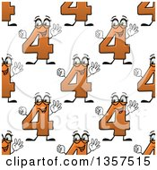 Clipart Of A Seamless Background Pattern Of Cartoon Orange Number Four Characters Royalty Free Vector Illustration by Vector Tradition SM