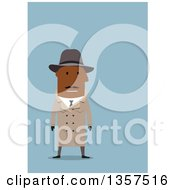Clipart Of A Flat Design Black Male Detective On Blue Royalty Free Vector Illustration by Vector Tradition SM