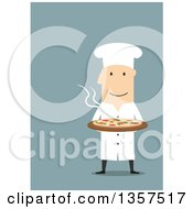 Clipart Of A Flat Design White Male Chef Holding A Hot Pizza On Blue Royalty Free Vector Illustration