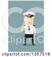 Clipart Of A Flat Design White Male Captain Holding A Telescope On Blue Royalty Free Vector Illustration by Vector Tradition SM