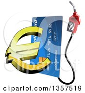 Clipart Of A Blue Gas Pump Credit Card With A 3d Golden Euro Currency Symbol Royalty Free Vector Illustration by Vector Tradition SM