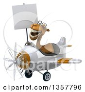 Clipart Of A 3d Bespectacled Camel Aviator Pilot Holding A Blank Sign And Flying A White And Brown Airplane On A White Background Royalty Free Illustration