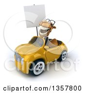 Clipart Of A 3d Bespectacled Business Camel Holding A Blank Sign And Driving A Yellow Convertible Car On A White Background Royalty Free Illustration