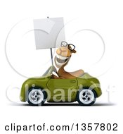 Clipart Of A 3d Bespectacled Camel Holding A Blank Sign And Driving A Green Convertible Car On A White Background Royalty Free Illustration