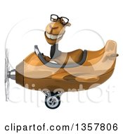 Clipart Of A 3d Bespectacled Business Camel Aviator Pilot Flying A Brown Airplane On A White Background Royalty Free Illustration