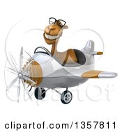Clipart Of A 3d Bespectacled Camel Aviator Pilot Flying A White And Brown Airplane On A White Background Royalty Free Illustration