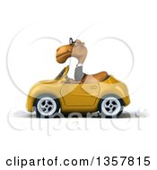 Clipart Of A 3d Bespectacled Business Camel Driving A Yellow Convertible Car On A White Background Royalty Free Illustration