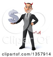 Clipart Of A 3d Young White Devil Businessman Holding A Dollar Currency Symbol On A White Background Royalty Free Illustration