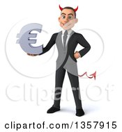Clipart Of A 3d Young White Devil Businessman Holding A Euro Currency Symbol On A White Background Royalty Free Illustration