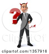 Clipart Of A 3d Young White Devil Businessman Holding A Question Mark On A White Background Royalty Free Illustration
